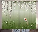 Lunarable Koi Fish Curtains, Japanese Koi Fish Painting Style Hanging Cherry Flowers Floating Leaves, Living Room Bedroom Window Drapes 2 Panel Set, 108' X 90', White Orange