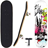 Geelife Skateboard 7 Layers Decks 31'x8' Pro Complete Skate Board Maple Wood Longboards for Teens Adults Beginners Girls Boys Kids...
