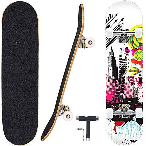 "Geelife Skateboard 7 Layers Decks 31""x8"" Pro Complete Skate Board Maple Wood Longboards for Teens Adults Beginners Girls Boys Kids (Force)"