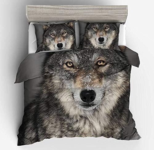 YZBEDSET 3D Print Bedding Sets Modern Animal Snow Wolf Head Pattern,Neutral Soft Warm Printing Comfortor Set Duvet Cover Set 3 Pcs with Pillowcase for Home,173X218Cm 2 Pillowcase