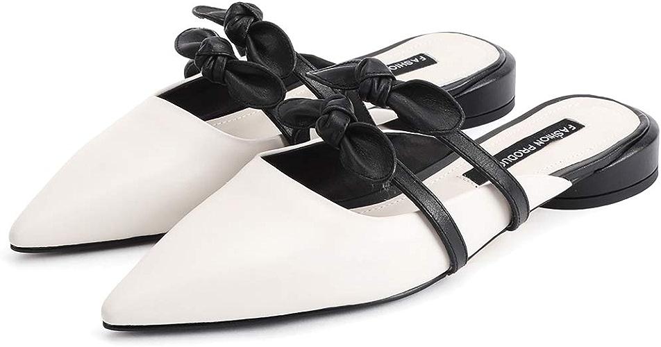 ZYN-XX Chaussures Plates pour Femmes Portant des Demi-Pantoufles en Cuir, des Sandales Pointues et des Pantoufles Simples Chaussures de Plate-Forme Baotou Sauvages