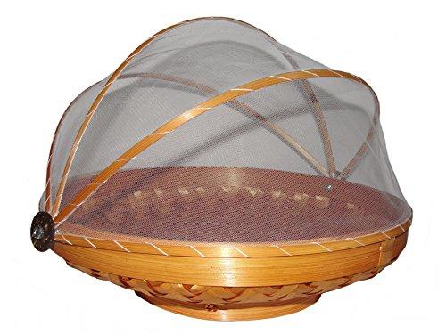 Unbekannt Obstschale mit Fliegenschutz/Insektenschutz 35cm Obstkorb mit Haube Korb aus Rattan