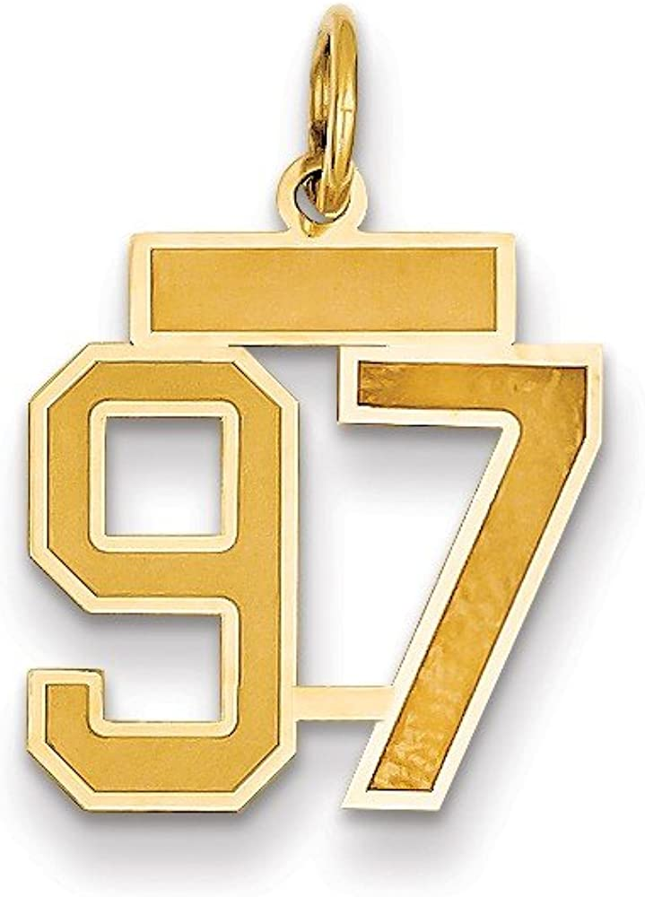 14k At the price of surprise Yellow Gold Ranking TOP7 Small Satin Number 97 Pendant Charm