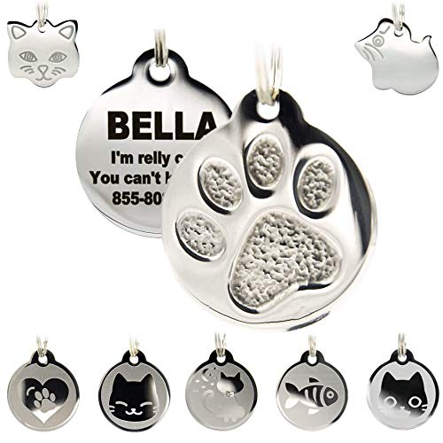 Stainless Steel Cat ID Tags - Engraved Personalized Cat Tags Includes up to 4 Lines of Text with Round Paw Shape