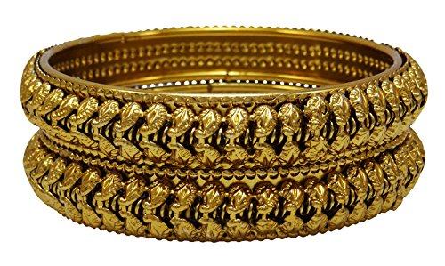 BanithaniDesigner vergoldetes Schraube kada Armreifen Set Armband Brautschmuck 2*4