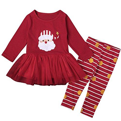 puseky Baby Meisjes Kerstmis Kerstman Tutu Jurk Shirt+Dots Broek Outfits Set
