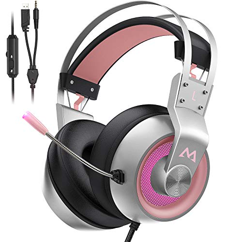 Mpow EG3 Pro Gaming Headset für PS4/PC/Xbox One/Mac/Switch, Virtual 7.1 Surround Sound, 3.5mm USB Over-Ear Kopfhörer mit Noise Cancelling Mikrofon, LED-Licht (Rosa)