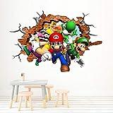 Nensuo 3D Pegatinas de Pared Mario Party Island Tour Poster Super Mario Bros Wallpaper 3D Window Stickers Vinilos Decorativos para Dormitorio PVC 60x90cm-A_40*60CM