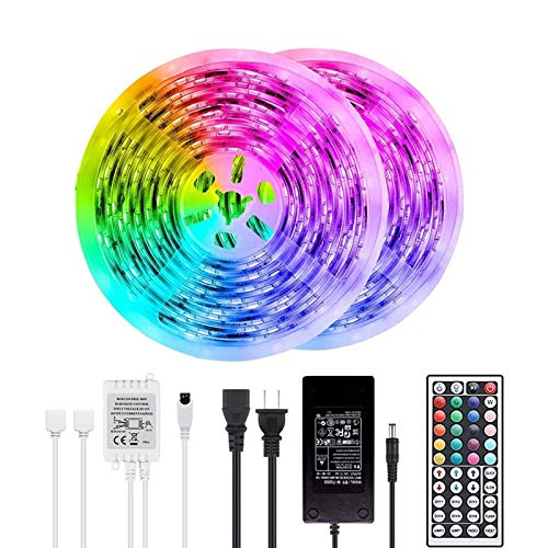 BAILONGJU LED Strip Lights, 50ft 15m Non-Waterproof Color Changing Light Strip Kit with Remote Controller 12V 5A Power, RGB SMD 5050 LED Rope Light for Room, Bedroom, Kitchen, Yard Decoration