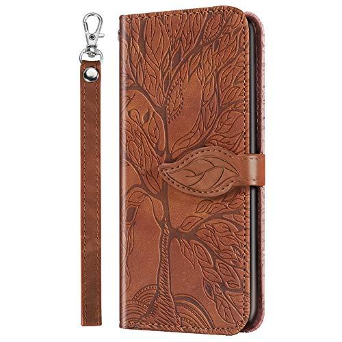 Nadoli Leder Tasche für Samsung Galaxy A30S,Kreative Geprägte Magnetverschluss Kartenfach Standfunktion Lanyard TPU Brieftasche Schutzhülle Handytasche Etui mit Blätter Baum Entwurf