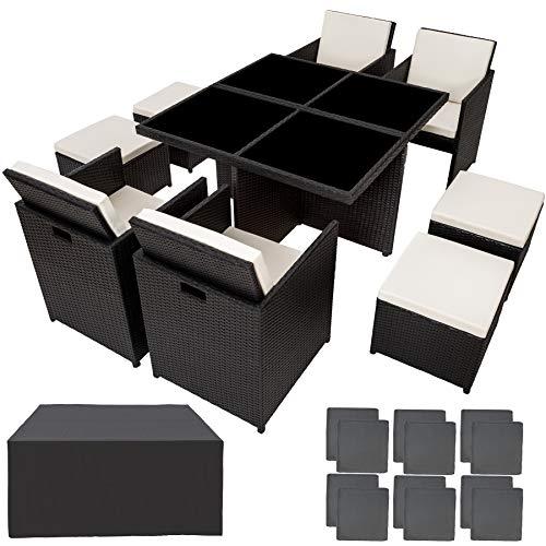 TecTake Salon de Jardin en Résine Tressée et Aluminium, Ensemble Table Set 4+4+1 + Housse de Protection (Noir)