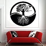 HGFDHG Árbol de la Vida Pared calcomanía Arte árbol raíz pájaro Puerta Ventana Vinilo Pegatina Yoga meditación Sala de Estar decoración del hogar