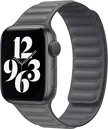 Fengyiyuda Correa Compatible con Apple Watch Correa 38mm 40mm 42mm 44mm,Correa Ajustable Correa de eslabones de Piel Fuerte magnético Compatible con iWatch Series SE/6/5/4/3/2/1(42/44mm Gris)
