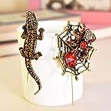 Arete Vintage Gold Crystal Rhinestone Animal Broche Pin Colgante Halloween Regalo Divertido Hijab Pins Broche de Insectos Esmalte Pin al por Mayor