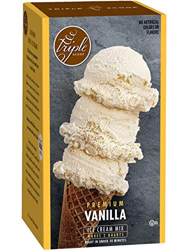 Triple Scoop Ice Cream Mix, Premium Vanilla, starter for use with home ice cream maker, no...