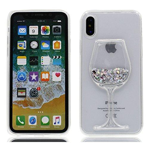 MZBaoLingMeiDongEU iPhone X Hoes, Transparant Crystal Bling Glitter Wijnglas Patroon Vloeiende Drijvende Snelheden TPU Vloeibare Cover, Full Body Shell voor iPhone X - Zilveren Sterren, Achterzijde, & 1