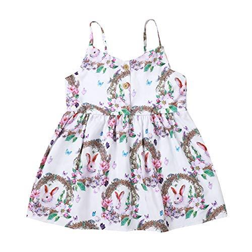 Covermason Baby Mädchen Prinzessin Kleider Ostern Hase Muster Spaghettiträger Kleid Ärmelloses O-Neck-Kleid Sommerkleider