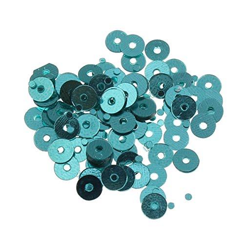 Pailletten Glatt Rund Perlen Ø 3mm 2400 STK. und 4mm 1200 STK. für Basteln Nähen Dekoration DIY Kleidung und Schmuck, Handwerk Metallic Sequin Farbauswahl (4mm, Türkis Blau)