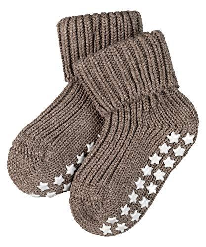 FALKE Unisex Baby Catspads Cotton B HP Hausschuh-Socken, Blickdicht, Braun (Pebble 5810), 62-68