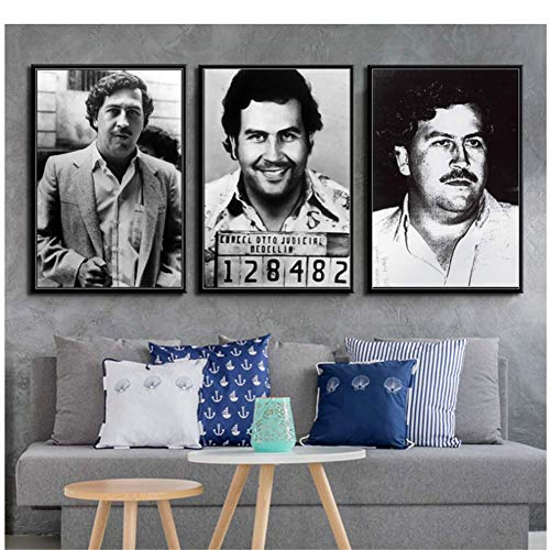 A&D Pablo Escobar Charakter Legende Retro Vintage Poster Und Drucke Malerei Wandkunst Leinwand Wandbilder Für Wohnzimmer Wohnkultur-50x70 cm Kein Rahmen
