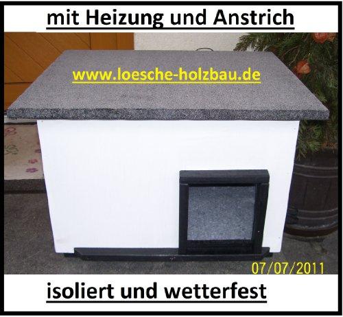"""Katzenhaus mit Heizung \""""weiß\"""" Katzenhütte Wurfkiste wetterfest isoliert beheizt"""