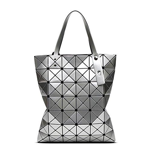 Bao Bao Handtaschen Laser Geometrie Diamant Form PVC Holographische Tasche Patchwork Frauen Handtasche Schultertasche Baobao 6 * 7 Silver 39X34