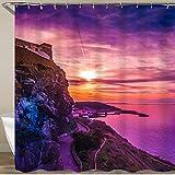 VORMOR Cortinas Ducha,Foto Colorida de la Hermosa Puesta de Sol púrpura en la Isla de Cerdeña,Cortina de Ducha Impermeable, Cortina de Ducha 180x180cm