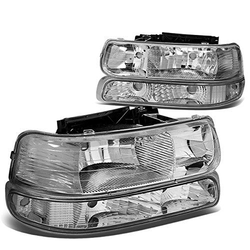 DNA Motoring HL-OH-CS99-4P-CH-CL1 Chrome Housing Headlights Replacement For 99-06 SIlverado Suburban Tahoe