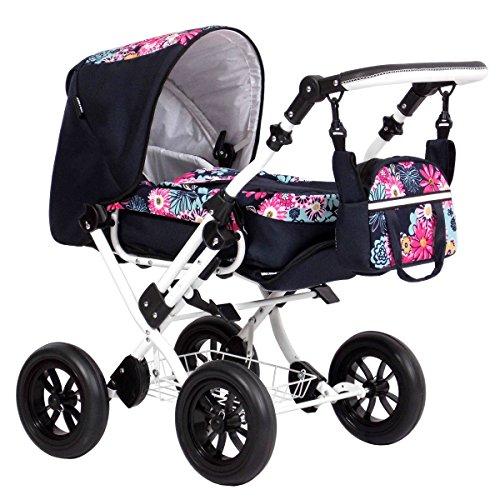 Zekiwa Modell Zeki Elegance, hochmodischer Puppenwagen mit Tragetasche und Fusssackfunktion, Anhängetasche inklusive, Dessin: Margerite Pink.