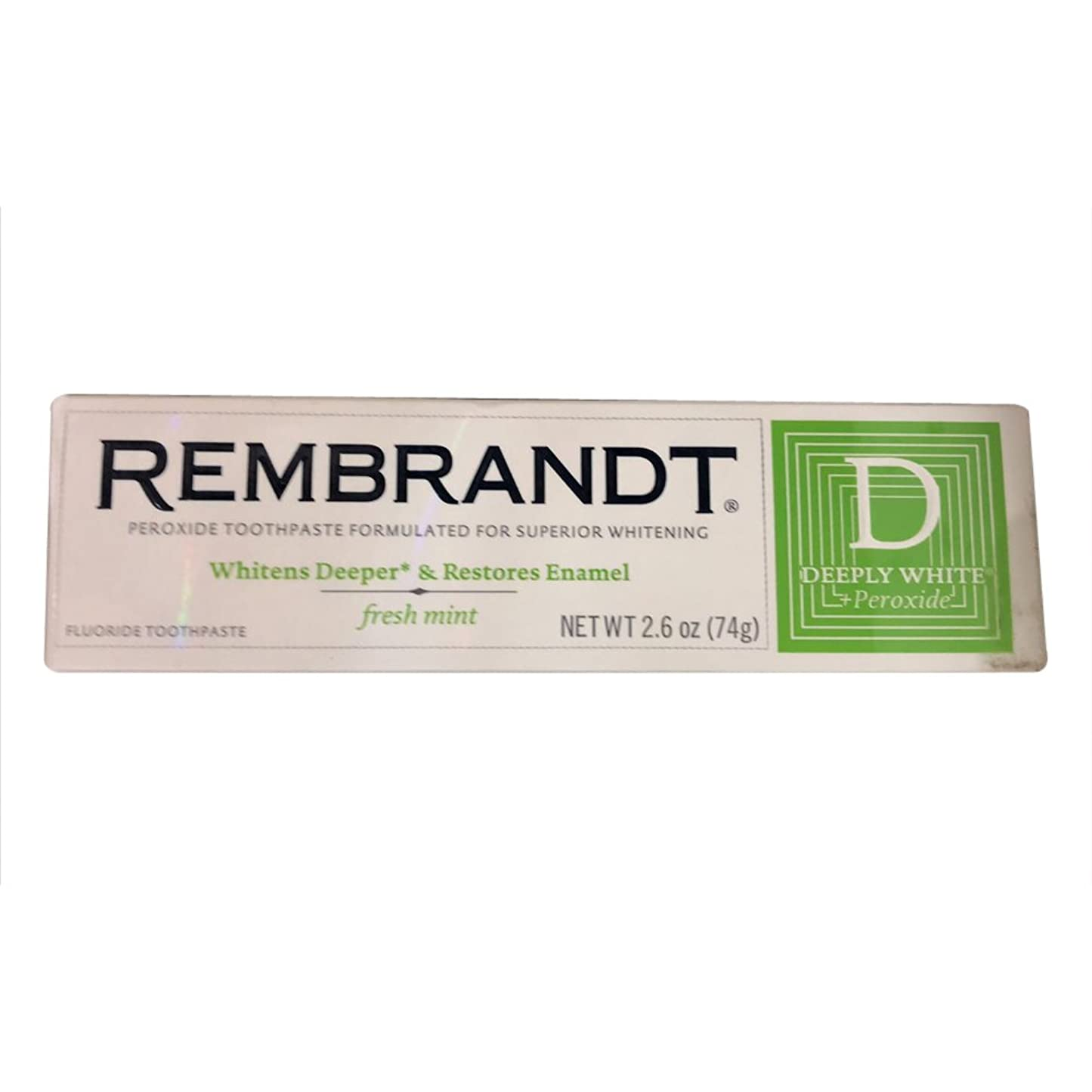 福祉薬理学ギャロップRembrandt プラス深くホワイトプラス過酸化フッ化物の歯磨き粉フレッシュミント、2.6オズ、(12パック) 12のパック
