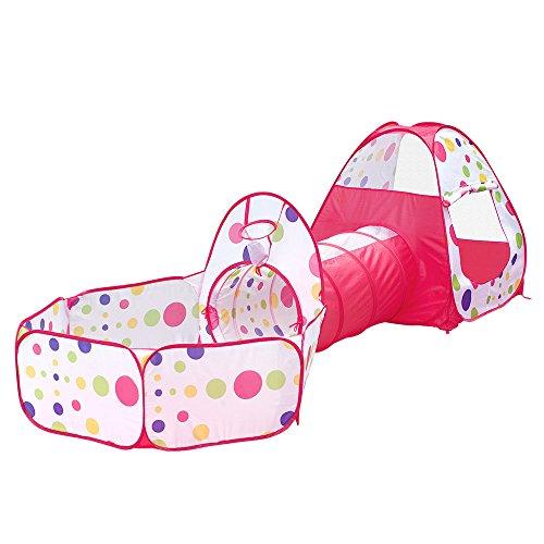 Vplay 3-Teilig Kinder Spielzelt Bällebad Zelt / Krabbeltunnel / 2 Bällebad für Unisex unter 3 Jahren