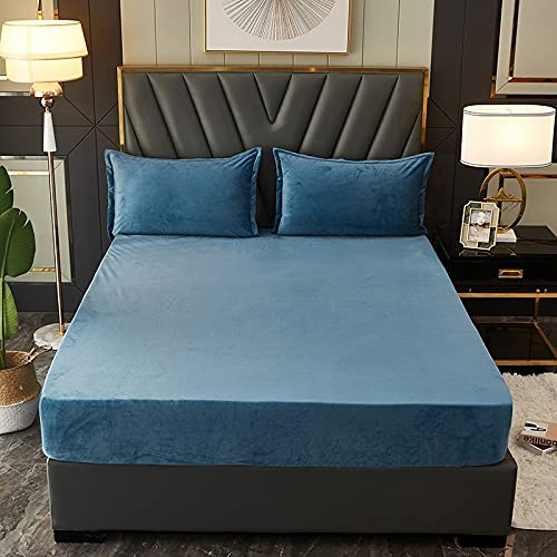 Haya Comfort - Sábana bajera elástica con cremallera, color antracita, azul oscuro, 180 x 220 cm + 25 cm