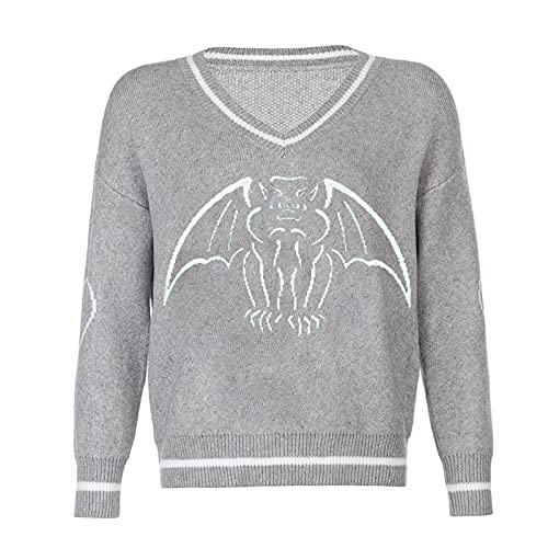Suéter de punto Y2K para mujer, casual, cuello en V, estampado de murciélago de manga larga, gris, L