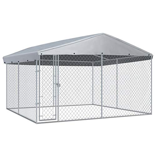 vidaXL Outdoor Hundezwinger mit Überdachung 382x382x225 cm Hundehütte Hundekäfig