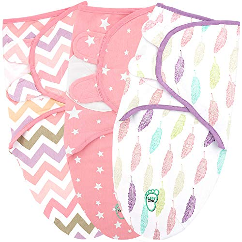Baby Swaddle Blanket Wrap for Newborn & Infant, 0-3 Months 100% Breathable Cotton Swaddlers Sleep Sack with Adjustable Wings, 3 Pack Swaddling Blankets for Girls (Pink)