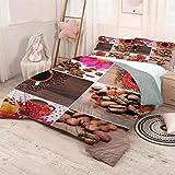 Helloleon Kitchen - Juego de 3 tazas (1 funda de edredón y 2 fundas de almohada), diseño de lunares, flores, alubias, panecillos de poliéster (Queen), color marrón y rojo