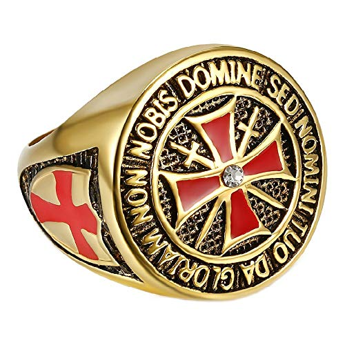 BOBIJOO JEWELRY - Anillo Anillo Anillo Anillo De Hombre Caballero Templario Todo El Oro Chapado En Oro De La Cruz Roja De Diamante Tesoro - 14 (7 US), Dorado - Acero Inoxidable 316