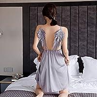 下着セット、翼のサスペンダーとセクシーな女性のパジャマ-グレー_40〜65kg、女性のベビードールレースのネグリジェ