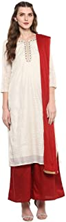 STOP Womens Round Neck Check Embroidered Palazzo Suit