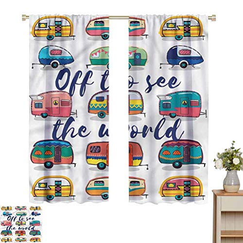 Camper Curtain for Bathroom Off to See The World Quote Sliding Darkening Curtains W63 x L63 Gift for Best Friend Woman