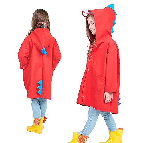 wudidianzi Capa de chuva infantil, linda jaqueta de chuva com capuz de dinossauro pequeno e impermeável para crianças e adolescentes, Vermelho, S