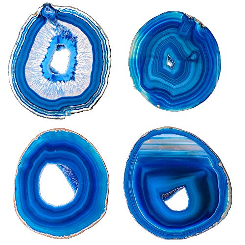 Natural Sliced Agate Coasters Set with Free Rubber Bumper - CXD-GEM Dyed Blue Large Stone Drink Coasters(4-5inches) - Handmade Drink Mat for Home Decor / 4 Pcs,4-5inches,Blue Geode