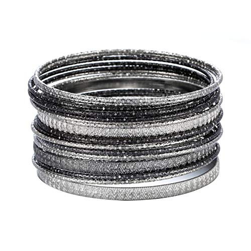 Ensoul Multiple Textured Metal Bracelets & Bangles Set for Women 18Pcs/Set Silver/Hemtite
