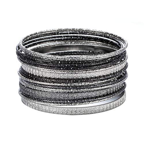 Ensoul Multiple Textured Metal Bracelets & Bangles Set for Women 18Pcs/Set Silver/Hemtite