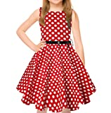 uideazone Girls Polka Dot Prints Dress with Belt Summer Adorable Twirly Dress for Kids Children 10-11 Years Red