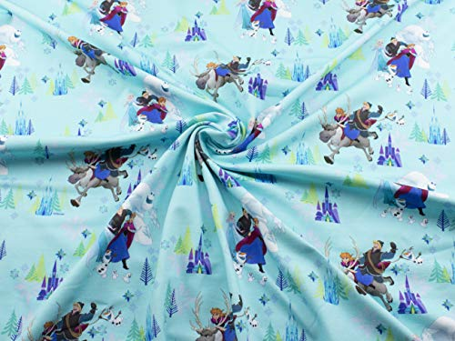 Eiskönigin Stoff auf Baumwoll Jersey mit Anna und Elsa in türkis ab 25 cm
