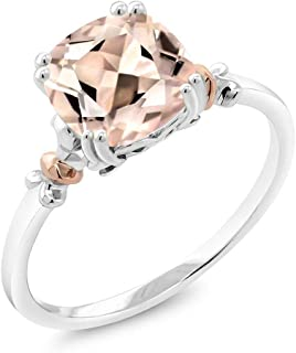 925 Sterling Silver and 10K Rose Gold Peach Morganite Women's Ring (1.88 Cttw Cushion, Available in size 5, 6, 7, 8, 9)