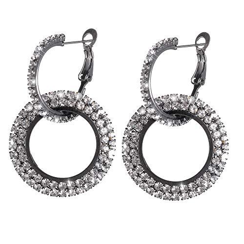 TUDUZ Nouveau Mode Luxe Rond Diamant Boucles Doreilles Femmes Argent Or Glitter Stu Mère Cadeau Boucle Doreille Femme Fille(Noir)