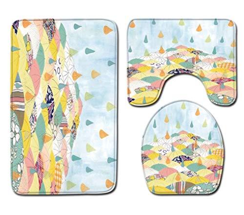 Badmat Kleed 3-Delige Set Kleur Paraplu Print Toiletbril Cover Badmat Deksel Cover Badmat Family Home Decor