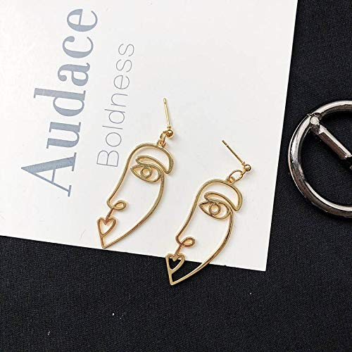 XPWOZ Punk Human Face Drop Earrings For Women Retro Abstract Hollow out Statement Hand Metal Fashion Dangle Earring Jewelry (Color : F Gold)